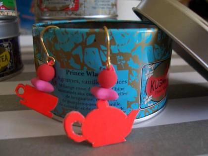boucle d'oreille thé sur boîte